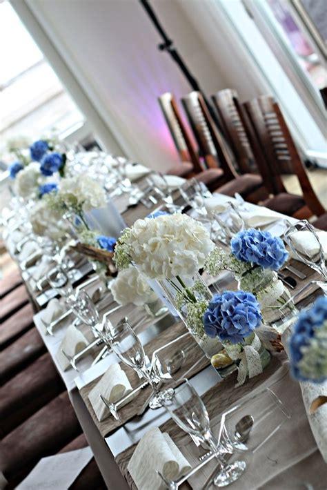 blaue tischdeko tischdeko blaue und wei 223 e hortensien hochzeit