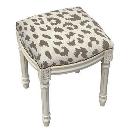 123 Creations Vanity Stool by 123 Creations Animal Print Cheetah Linen Upholstered