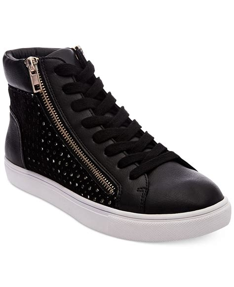 high top black sneakers womens steve madden s elyka lace up high top sneakers in