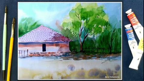 watercolor landscape tutorial youtube watercolor landscape tutorial how to paint village