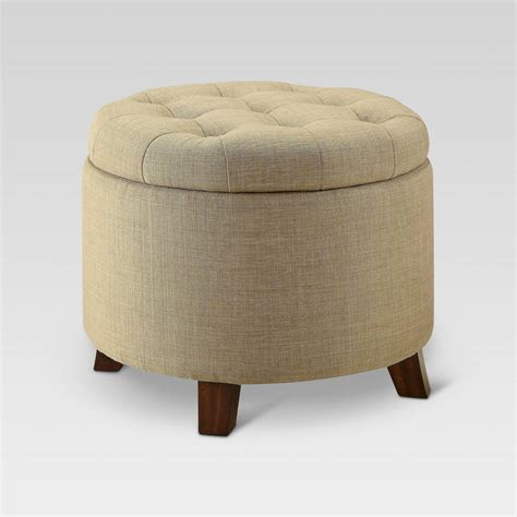 tufted round ottoman tufted round storage ottoman charcoal threshold ebay
