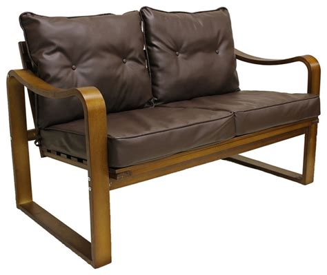 leather benches with back stockholm bentwood faux leather slatted back settee bench