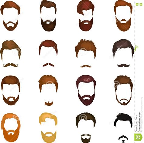 cartoon hairstyles vector men cartoon hairstyles with beards and mustache background