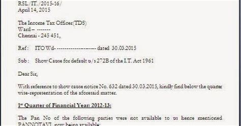 Response Letter To Notice Of Default Income Tax Notice Reply Letter Format For Pan Update In Return
