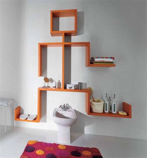bathroom wall shelving ideas floating wall shelves design ideas unique wall mounted shelves orange high gloss color with