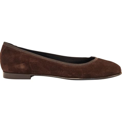 chocolate brown suede ballerina flats paolo shoes