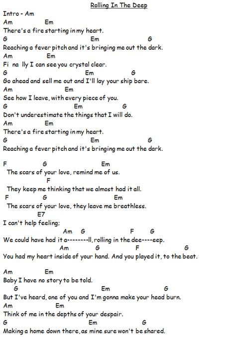Guitar Chords Rolling In The Deep