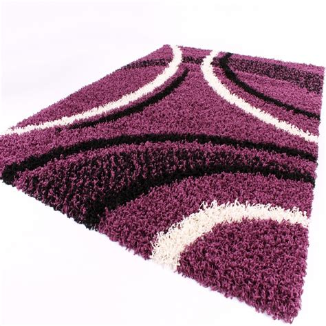 teppich lila shaggy teppich hochflor langflor gemustert in lila schwarz