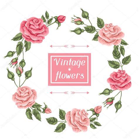 imagenes vintage en rosa marco con rosas vintage decorativos flores retros imagen