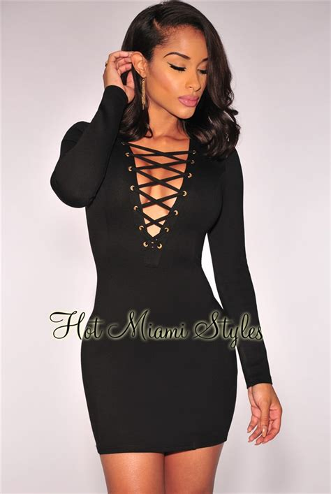 Lace Up Sleeve Dress black lace up sleeves dress