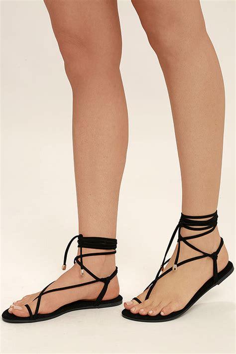 black tie up sandals black sandals flat sandals lace up sandals 18 00