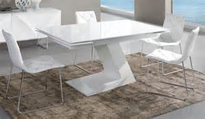 table extensible blanc laqu design arta