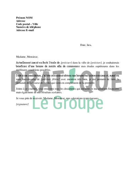 Exemple De Lettre Bourse Application Letter Sle Modele De Lettre De Demande Bourse