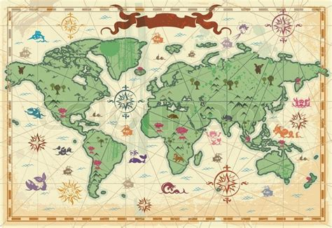 Colorful ancient World map   Vector   Colourbox