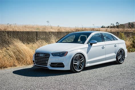 White S3 Audi by Glacier White Metallic Audi S3 Suspension Upgrades