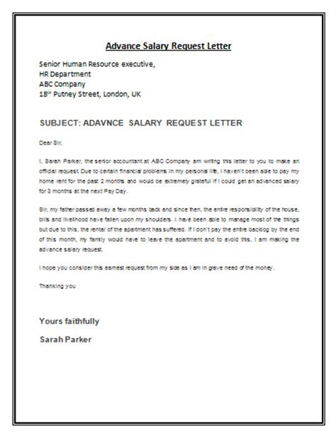 Advance Loan Letter From Company Advance Salary Request Letter Payslip Templates
