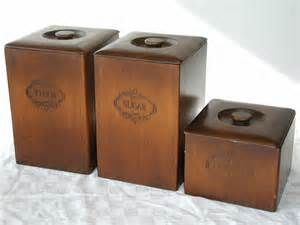 Wooden Kitchen Canister Sets wooden kitchen canisters set of 3 vintage rustic storage containers