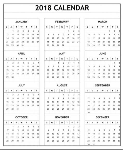 free yearly calendar templates 2018 yearly monthly calendar template excel word