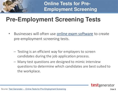 tests for pre employment screening