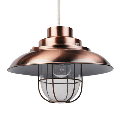 Modern Industrial Black White Copper Contemporary Copper Fishermans Ceiling Light Pendant Shade