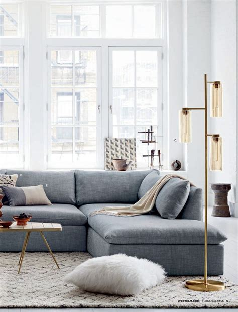 Gray Living Room Sectional Shelter From West Elm