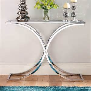 Small Glass Console Table Houston Glass Chrome Console Table By Kaleidoscope Kaleidoscope