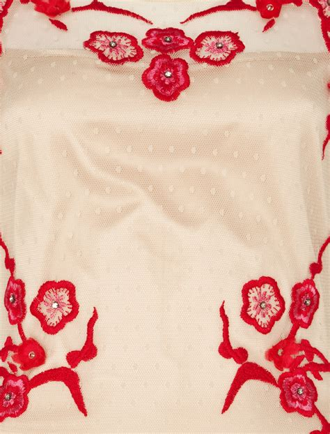Cherry Blossoms Dress Green Embroidery Elastic Cotton 100 lyst by temperley cherry blossom dress in