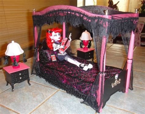 monster high bedroom sets monster high custom canopy bed set for operetta drop dead dolls hous