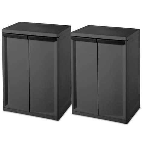 Laundry Storage Cabinet Sterilite 2 Shelf Laundry Garage Utility Storage Cabinet Flat Gray 0140 2 Pack Ebay