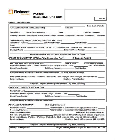 patient registration form sle patient registration form 8 free documents
