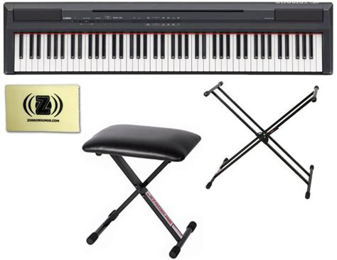 yamaha keyboard stand and bench yamaha p 105 digital piano black bundle with double
