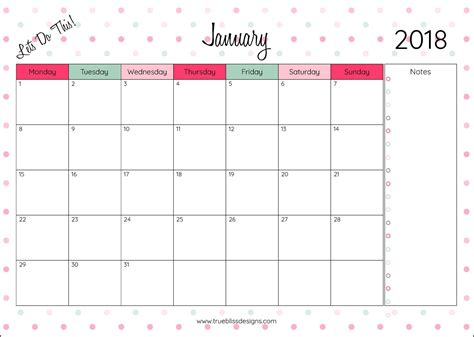 printable a4 monthly planner 2018 monthly printable calendar let s do this