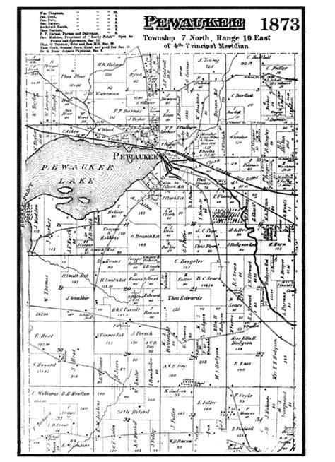 Waukesha County Records 1873 Pewaukee Plat Map Waukesha County Wisconsin Waukesha County Wi