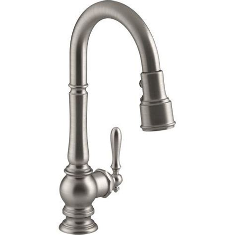 high arch kitchen faucet butler pantry faucets kohler artifacts pullout spray