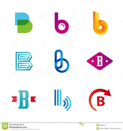 set of letter b logo icons design template elements stock