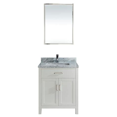 30 inch white finish transitional bathroom vanity cabinet