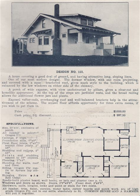 ready made house plans 1915 side gabled classic craftsman bungalow plans by the
