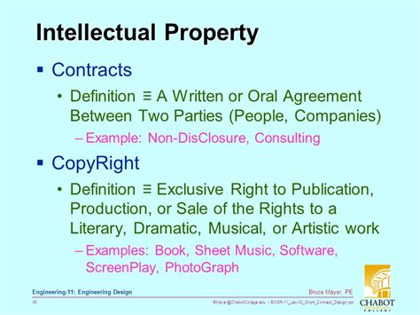 contracts for engineers intellectual property standards and ethics books licensed electrical mechanical engineer ppt