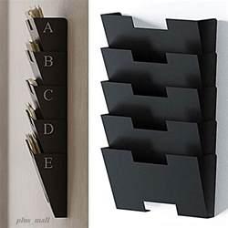Wall mount file folder holder organizer rack 5 sectional