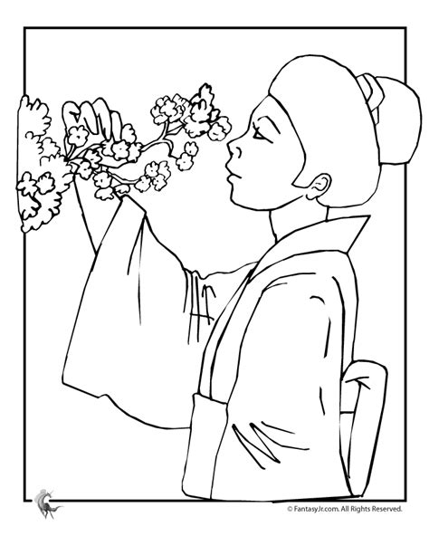 japanese cherry tree coloring page japanese cherry blossom tree drawing sketch coloring page