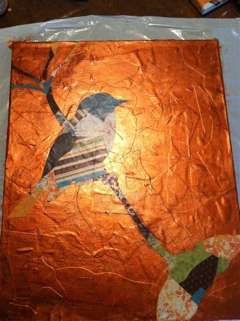 Decoupage Paint - paint and decoupage bird on canvas school