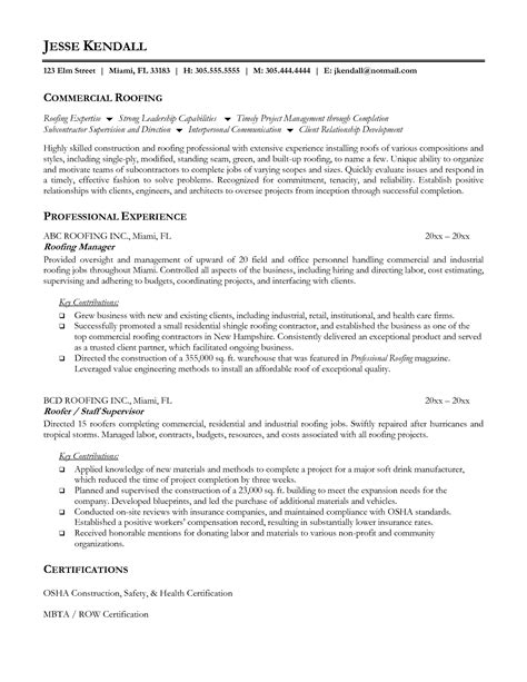 roofing resume exles roofer resume sle resumes