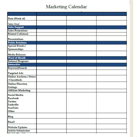 Sle Marketing Calendar 7 Documents In Pdf Word Marketing Promotional Calendar Template