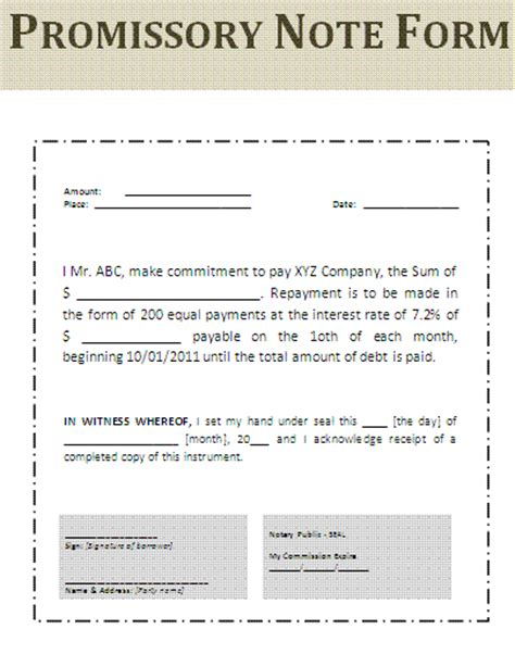demand loan template promissory note form free printable documents