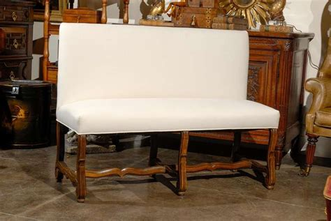 Upholstered Settee Bench With Back Upholstered Bench Settee With Back At 1stdibs