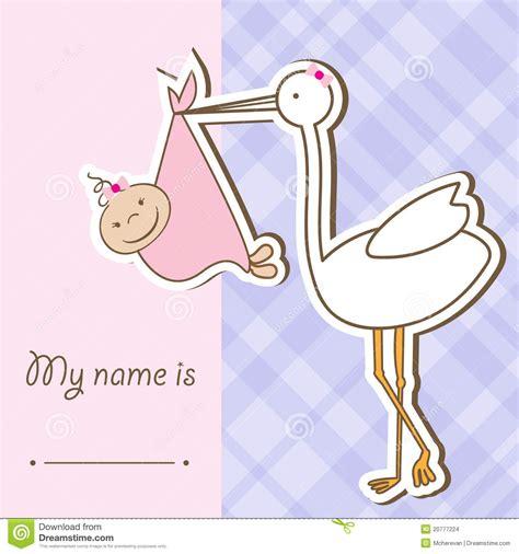 doodle 4 konkurs plastyczny baby arrival card with stork stock vector illustration