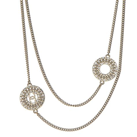 Chanel Chain Baguette by Chanel Baguette Pearl Cc Chain Necklace Gold 205344