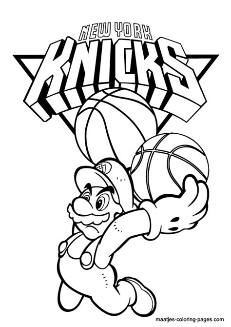 mario basketball coloring pages new york knicks and super mario nba coloring pages