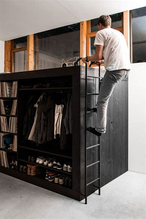 Loft Bed Wardrobe by Living Cube Combines Entertainment Center Bookshelves