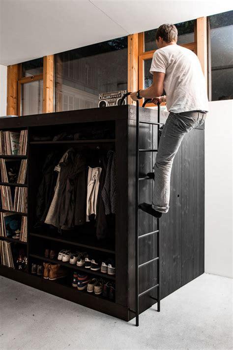 loft bed closet living cube combines entertainment center bookshelves